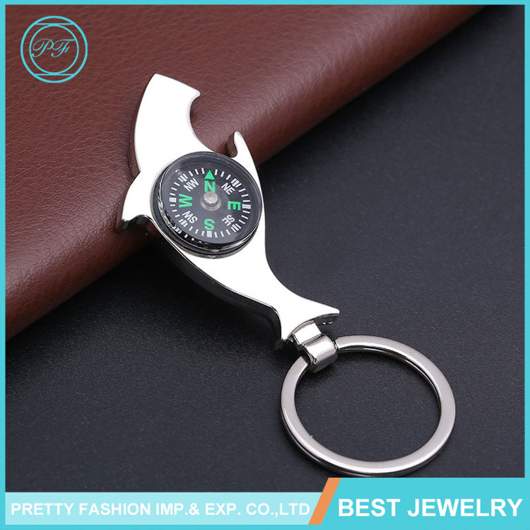 Cheap shark beer bottle opener pendant personality compass auto keychain promotion gift custom keychain