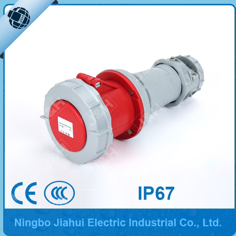 CEE/IEC 60309-2 certified ip67 63A 4P 6H industrial connector outdoor waterproof female plug european extension