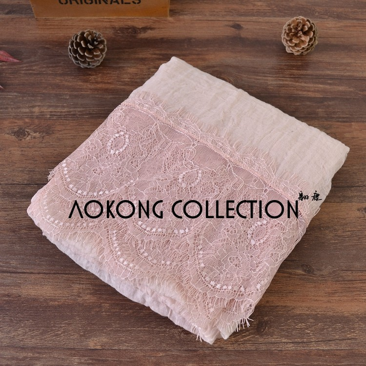 New arrival hot sale fashion ladies muslim lace hijab solid plain lace islamic hijab scarf