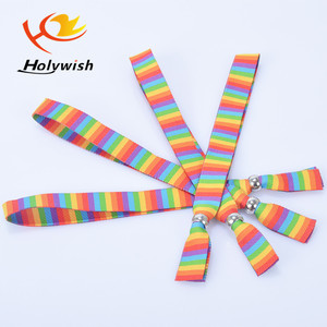 Christmas Events use multi colored wristband woven band label polyester wristband