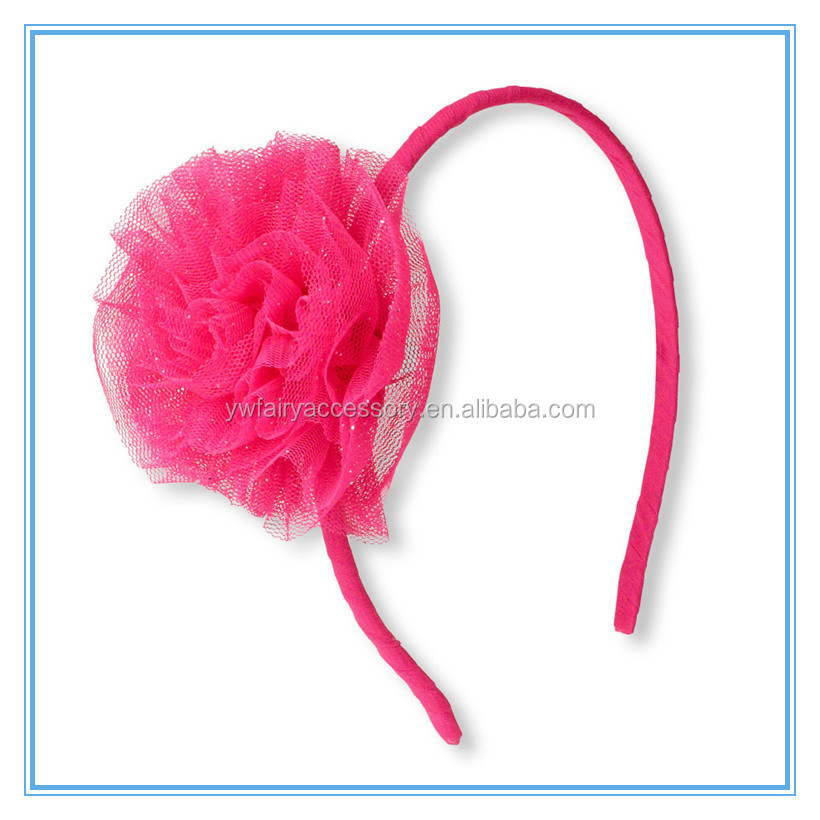 New arrival children headband tulle fabric flower elastic hair alice band kids flower hair accessories