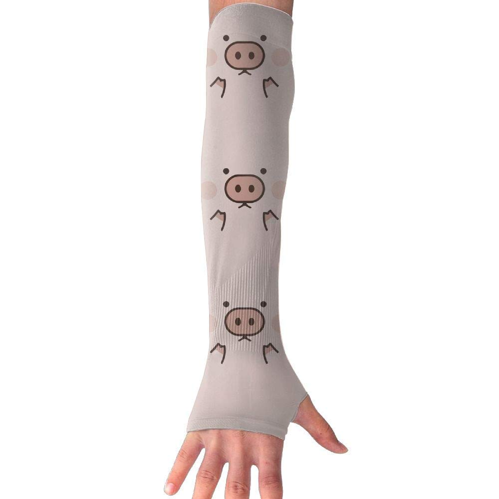 Men & Women Piggy Cute Pig Cartoon UV Sun Protection Cooling Arm Sleeves,arm Warmer,Long Sleeve Glove,Skin Protector Perfect for Cycling, Driving, Outdoor Sports, Golf, Basketball, Baseball