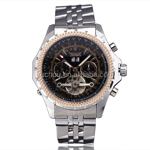 Luxury Tourbillon Analog Steel Strap Mens Automatic Wrist Watch