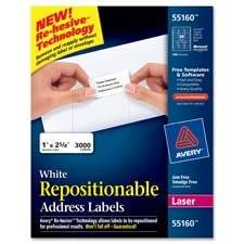 "Avery Consumer Products : Labels, Address, 1""x2-5/8"", 3000/BX, White -:- Sold as 2 Packs of - 3000 - / - Total of 6000 Each"