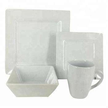 Restaurant Ceramic Porcelain Square Shape 16 Piece Western Germany Dinnerware Sets