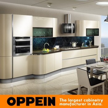 Oppein Acrylic And Flat Laminate Kitchen Cabinet Wooden Cabinets ...