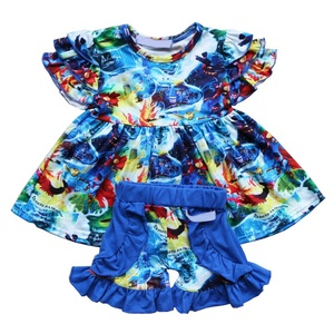 Summer Girls Outfits 2 Pieces Boutique Clothing Set For Child Clothes Set Baby Tunic And Short Set Summer Girls Outfit