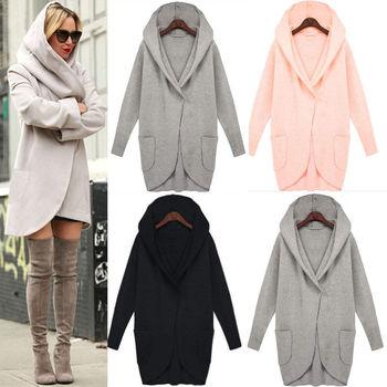 Winterjas Vrouw.Zh0544l 2017 Winter Naakt Pure Kleur Hooded Wollen Winterjas Voor