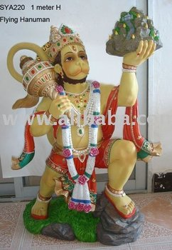 Polyresin Hindu God Statue (1 meter high Flying Hanuman)