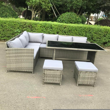 New 9 Seat Outdoor Wicker Sofa Lounge Dining Set Table Chairs Stool Setting Grey Chair Product On