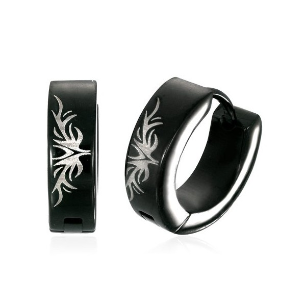 Men S Black Stainless Steel Hoop Earrings Tribal Design