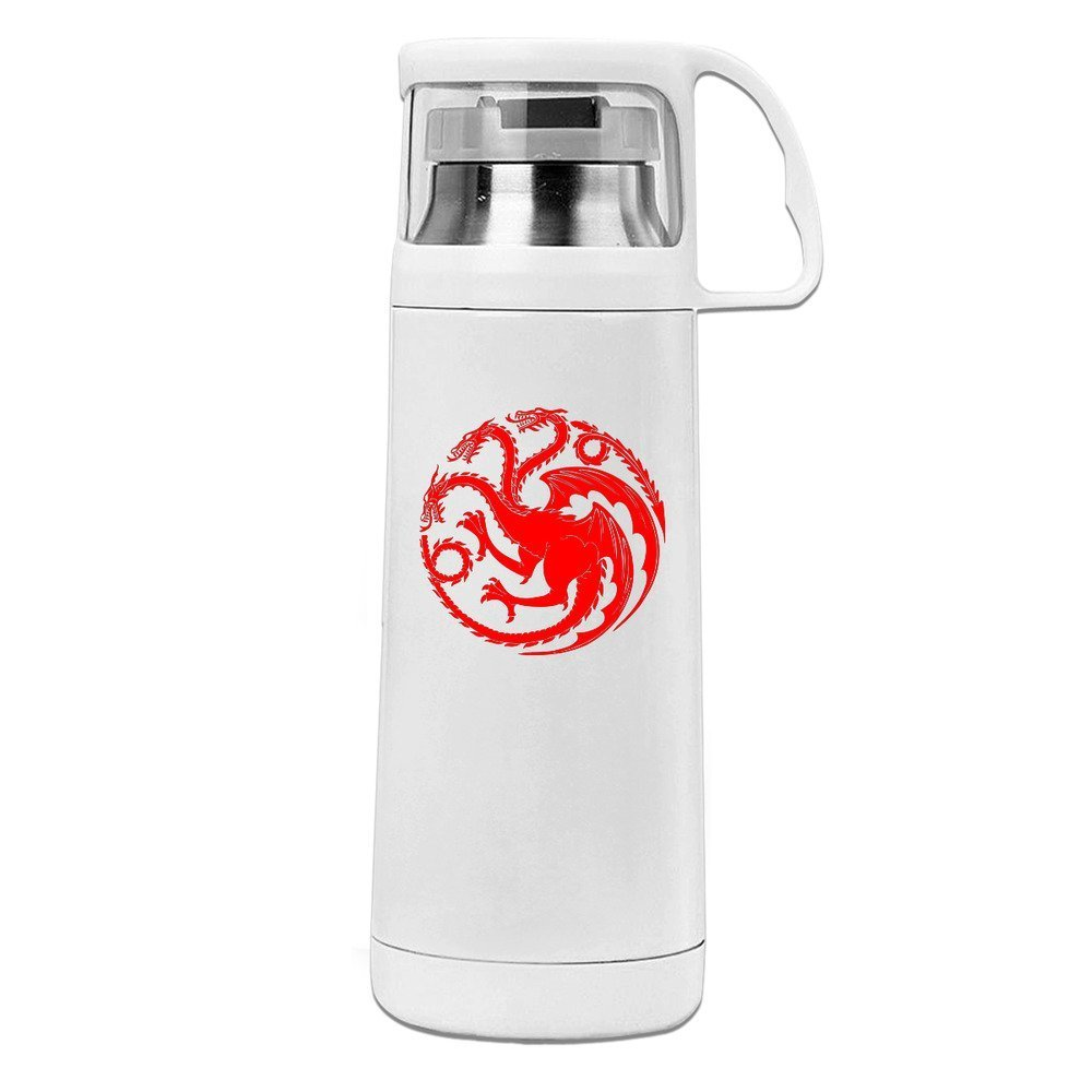 Handson Stainless Steel Vacuum Insulated Travel Tumbler China Dragon Paper Cut Insulated Travel Coffee Mug White 14oz/350ml