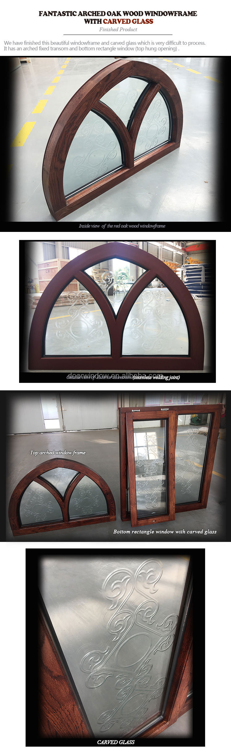 Glass window round garden arch top wood grille french casement windows