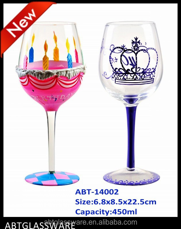 Hot Sale Happy Birthday Hand Painted Wine Glass