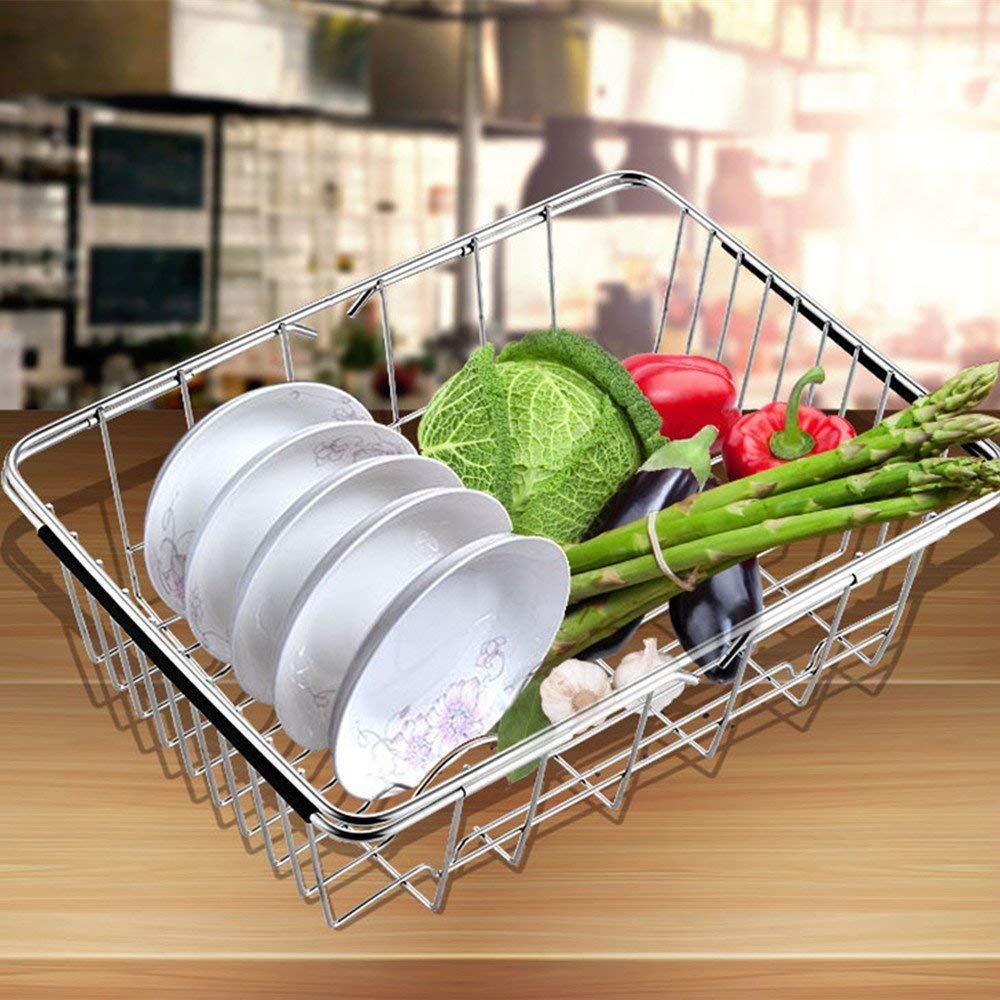 Get Quotations · Dish Rack Over Sink,HomeYoo Adjustable Stainless Steel Over  Sink Dish Drainer Vegetable Rack Drying