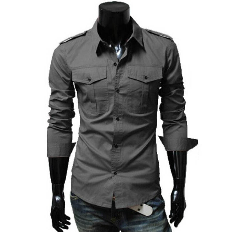 6c91edaa1 Get Quotations · 2015 New Casual Military Style Mens Shirts Long Sleeve,3  Colors Men Clothing Chemise Homme