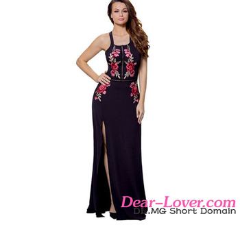 Sexy Black High Split Floral Embroidered Maxi Mexican Dress Wholesale