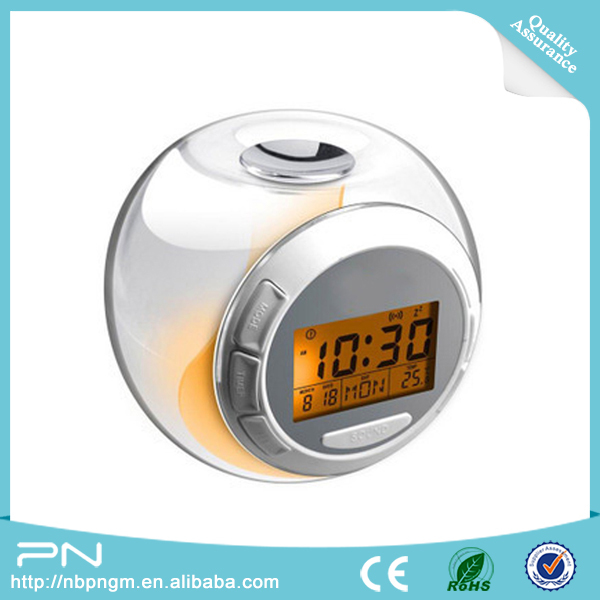 Office Decorative Items 7 Color Change Led Digital Lcd Alarm Clock