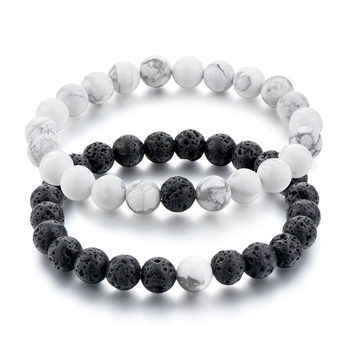 Matching Bracelets His And Her S Set Howlite Matte Onyx Bracelet Best Friend Anniversary