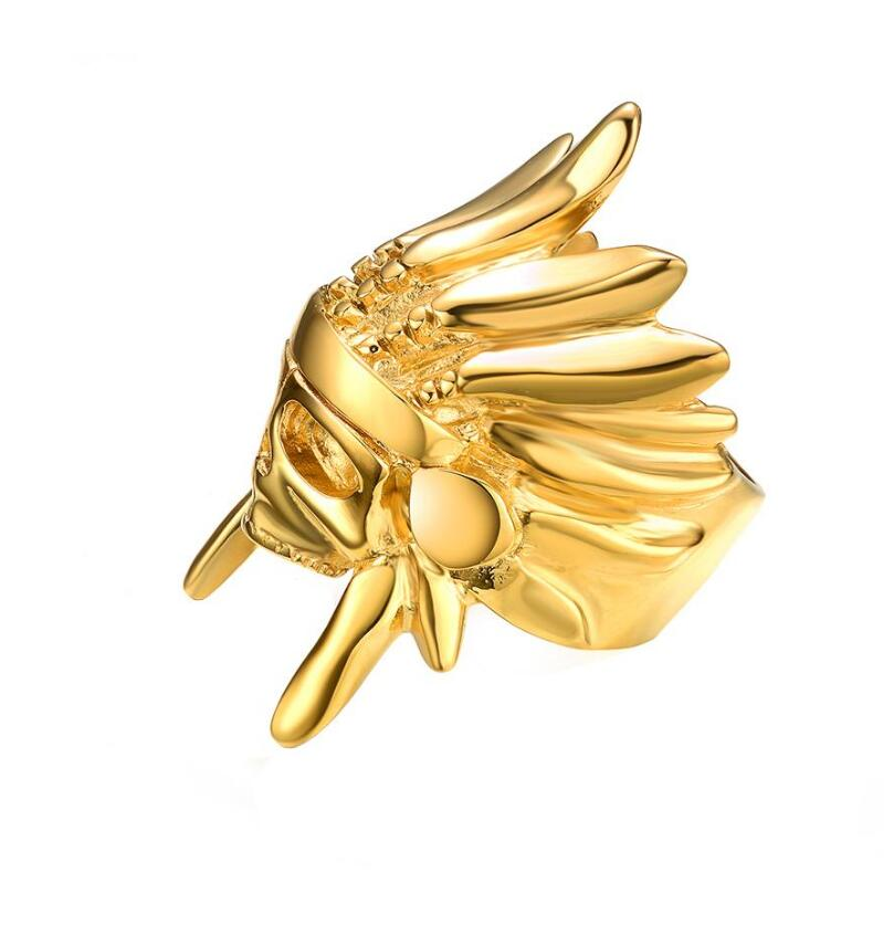European And American Fashion Punk Hip-Hop Mister Indian Chief Men's Gold Ring Designs For Men