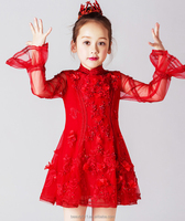 Girl Flower Dress Baby Girl Clothing 2017 Summer Girls Fashion red Flower Pear long Sleeve Tulle ED721