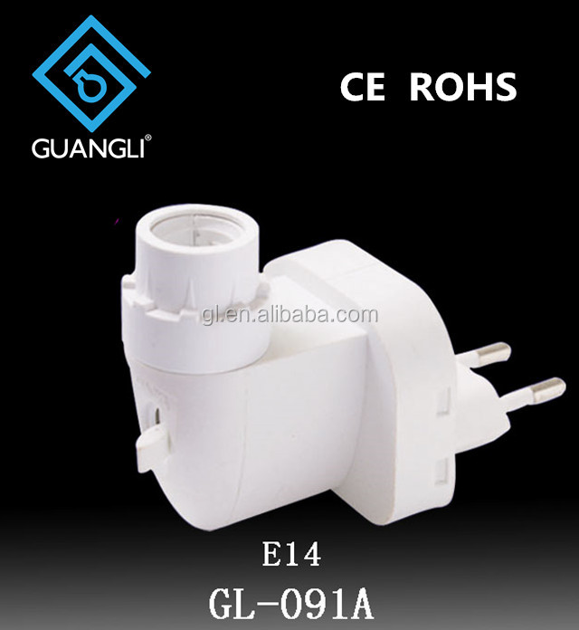 091A CE ROHS approved night light E14 electrical plug socket European plug in lamp holder with 5W or 7W or 15W and 220V or 240V