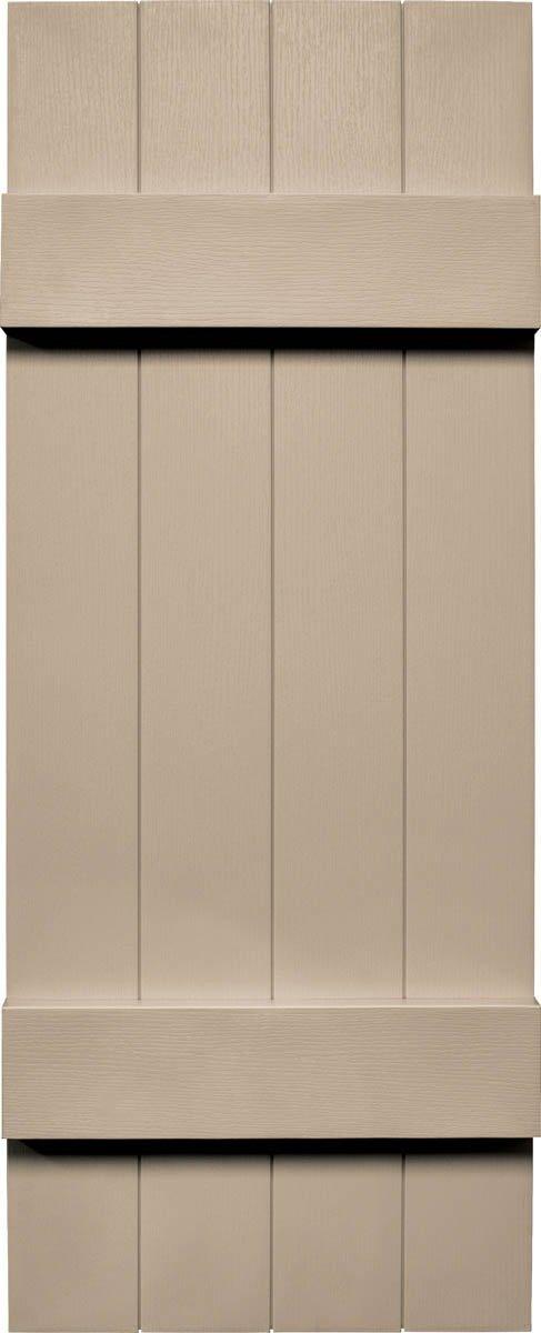 """Mid America VJB&B1466WI Joint Board & Batten Four Board Vinyl Shutter,, 66"""" x 14"""",, Wicker"""