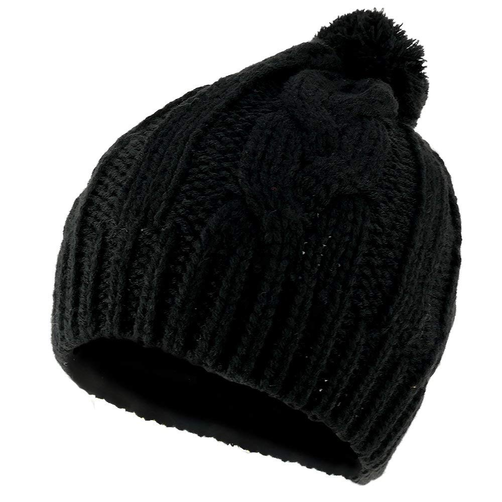 4fda5032c8f30 Get Quotations · 3 Button Winter Knitted Beanie Hat With Pom Pom