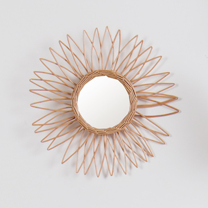 Hand woven craft custom home bathroom bedroom sun flower round decorative woven wood wicker willow frame rattan wall mirror
