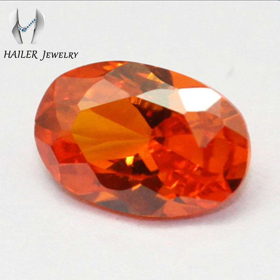 Orange Color oval cut cubic zircon gems