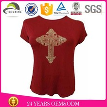 wholesale women thin cotton reversible t-shirt with beaded
