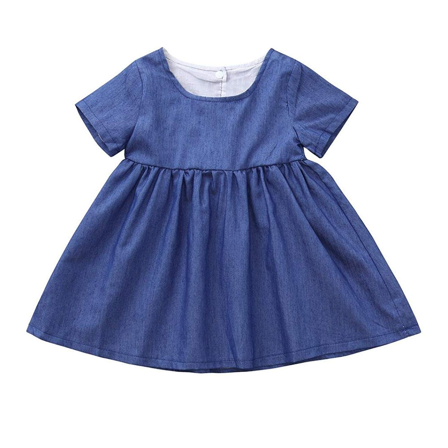 4fc1e691a88 Get Quotations · Fabal Infant Baby Girl Summer Sleeveless Solid Denim  Clothes Romper Dress