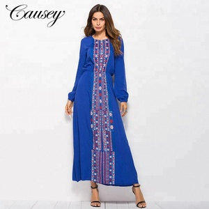 Blue Maxi Long Sleeve Custom Print Indian Tunic Dress