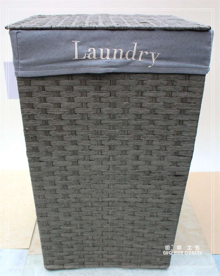 Grey Paper Rope Laundry Basket Paper Boxes Dirty Clothes
