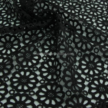 New Heavy Black Cord Lace Fabric /Guipure Lace Dress Fabric Cheap Lace