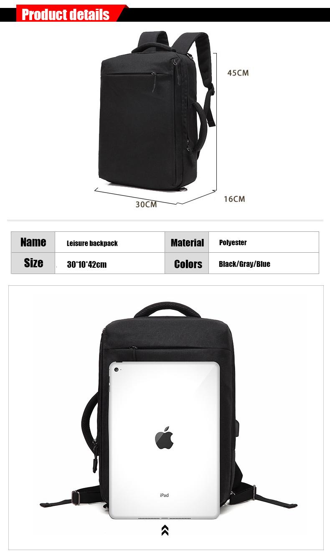 3IN1 waterproof multifunctional unisex USB charging port laptop school backpack rucksack back pack messenger bag satchel 2017