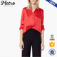 Women Sexy Red High Quality Wholesale Satin Shirts in Red Satin Blouse Women