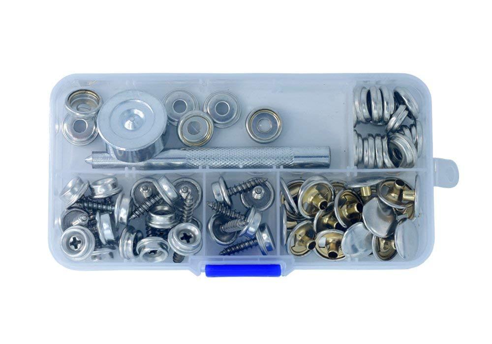 "62Pcs Stainless Steel Fastener Screw Snap Kit in Storage Box, Marine Grade, 3/8"" Socket #6-5/8"" with 2 Pcs Setting Tool"