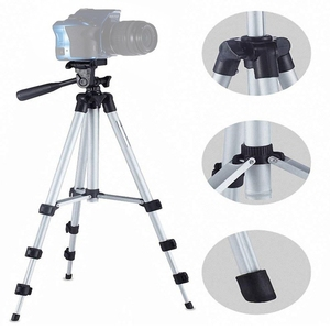 Live Broadcast Tripod 4-Section Folding Legs Aluminum Alloy Tripod Mount  for DSLR & Digital Cameras
