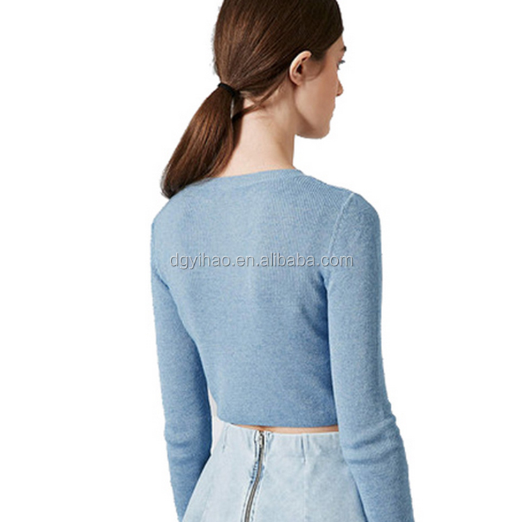 Pure color short Length Long Sleeve Women cashmere sweater Fashion Warm ladies woolen top OEM woolen sweater designs for ladies