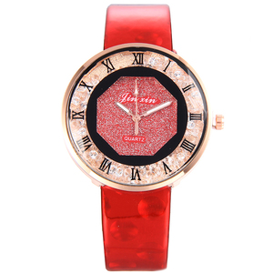 5146 Roman Rhinestone Full Star Watch Women Leather Casual Wrist Watch Lady Rhinestone bracelet bangle woman timepiece