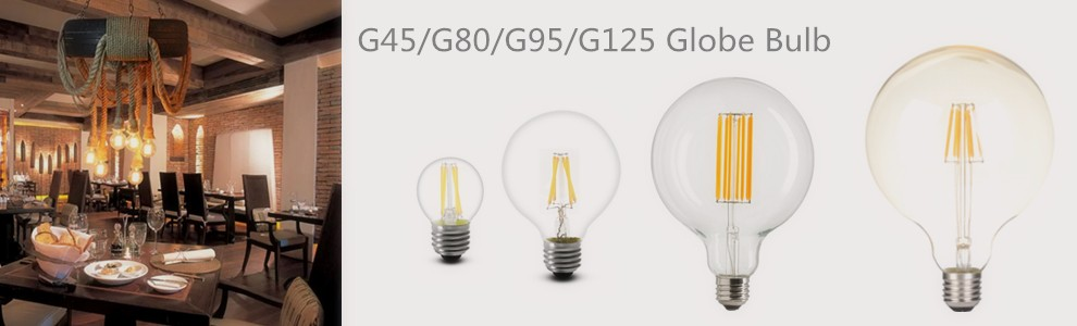 3W Dimmable G50 led filament bulb with half silver reflector