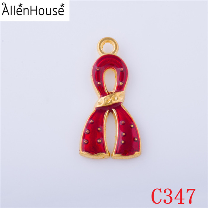 27*14mm various color Metal Alloy Rhodium Heighten AIDS And HIV Red Ribbon Raise Awareness Pendants & Charms