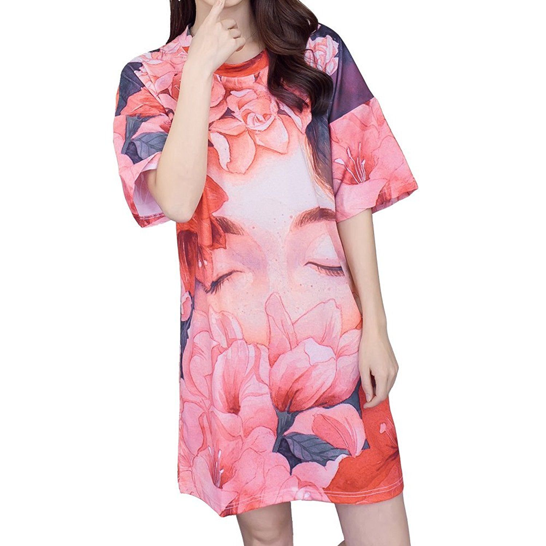 Get Quotations · Sleep Koala Women s Plus Size Pajamas Flower Girl Printed  Short Sleeve Sleep Shirt Fashion Nightgown Nightshirt 3ab8875f8