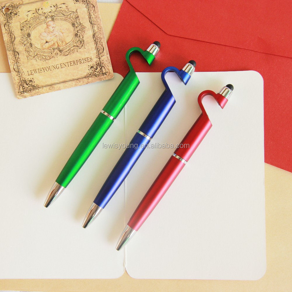 new design Promotional Plastic Ball Pen With Phone stand