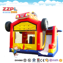 ZZPL truck theme Inflatable castle bounce house with slide n basketball hoop combo for sale bouncy castle water slide combo