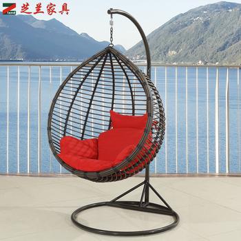 Living Room Indoor Outdoor Garden Rattan Hanging Basket Free Standing Adult  Egg Shape Swing Hammock Chair