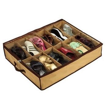 12 grids Foldable cardboard underbed shoes storage organizer