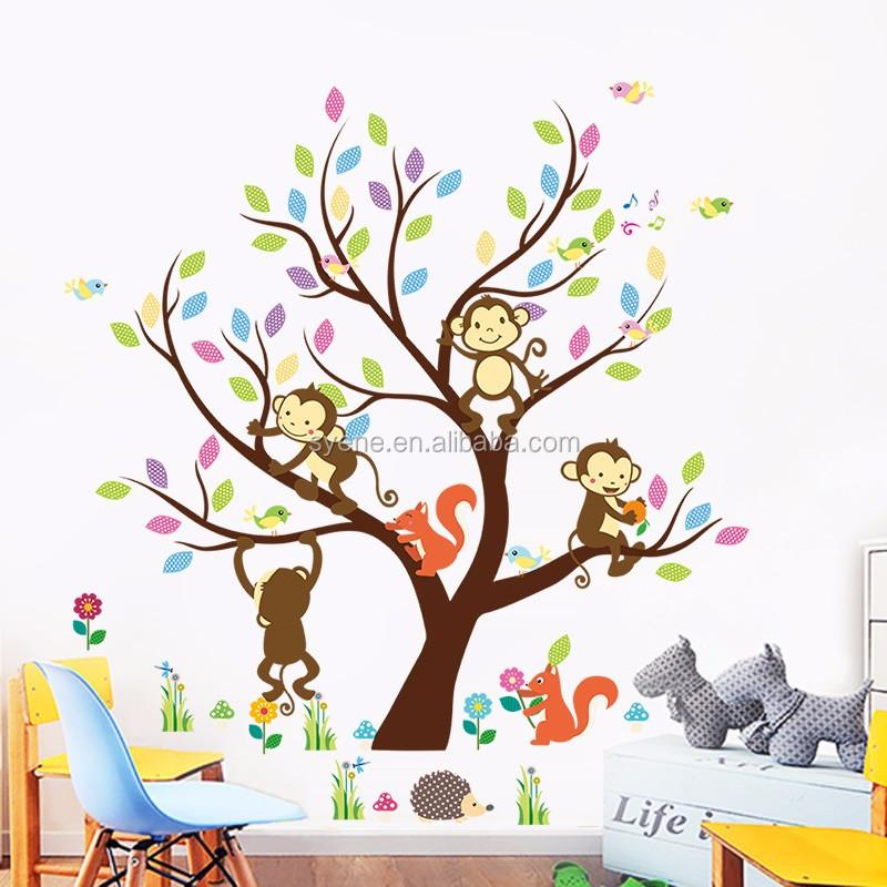 Syene Cartoon Cute Monkey Forest Animals Family Tree Wall