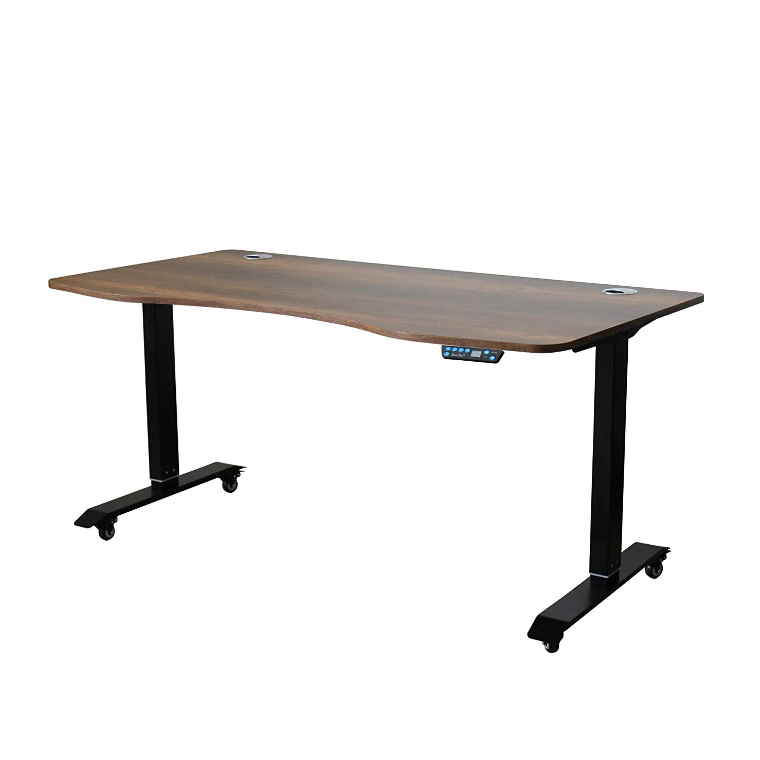 Azure Sky AB-63 Ergonomic 63-in 3 Memory Buttons LED Electric Automatic Height Adjustable Sit to Stand Curved Work Office Desk with Black Legs